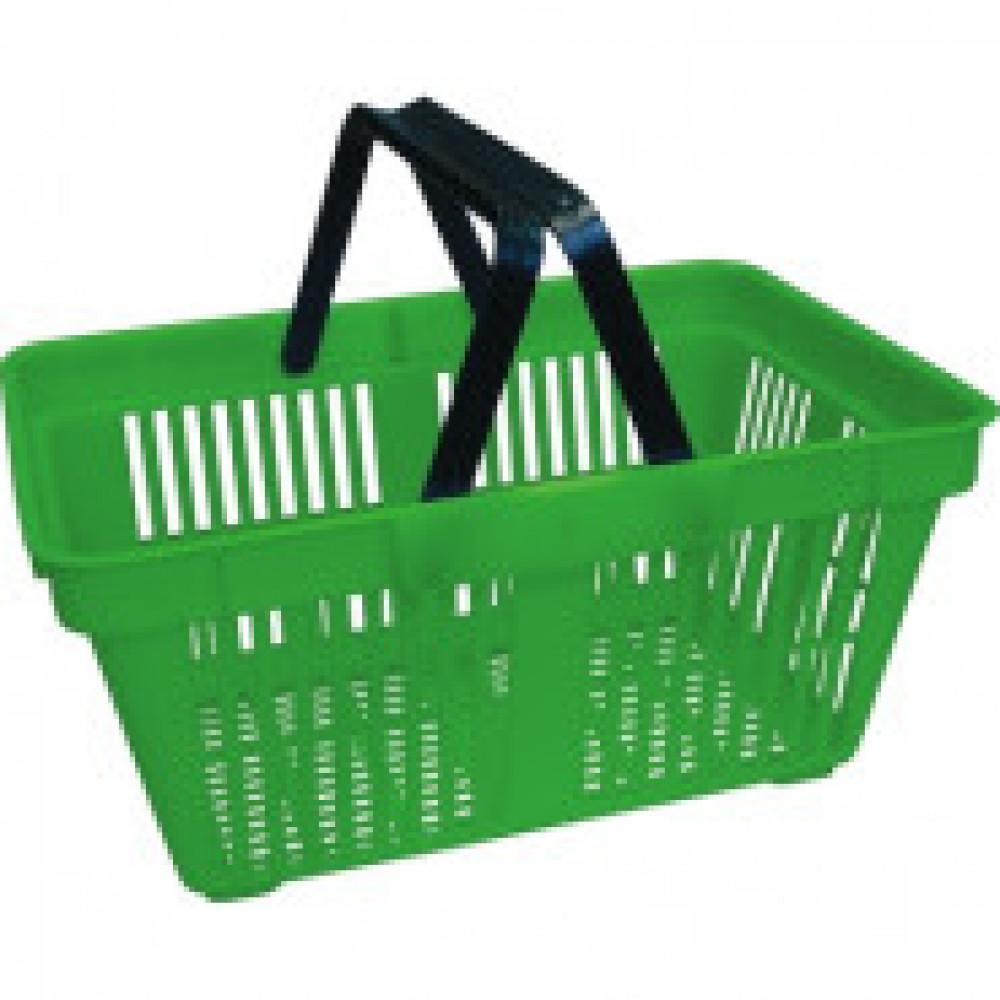 Корзина покупательская MDM_PL-702 пластик (2 ручки) зеленая 20л.5шт/уп