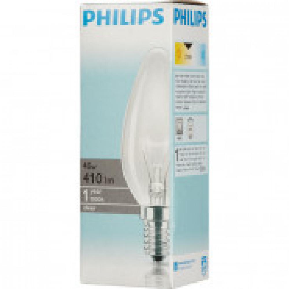 Лампа накаливания Philips 40 Вт E14 свеча прозрачная 2700 К теплый белый свет
