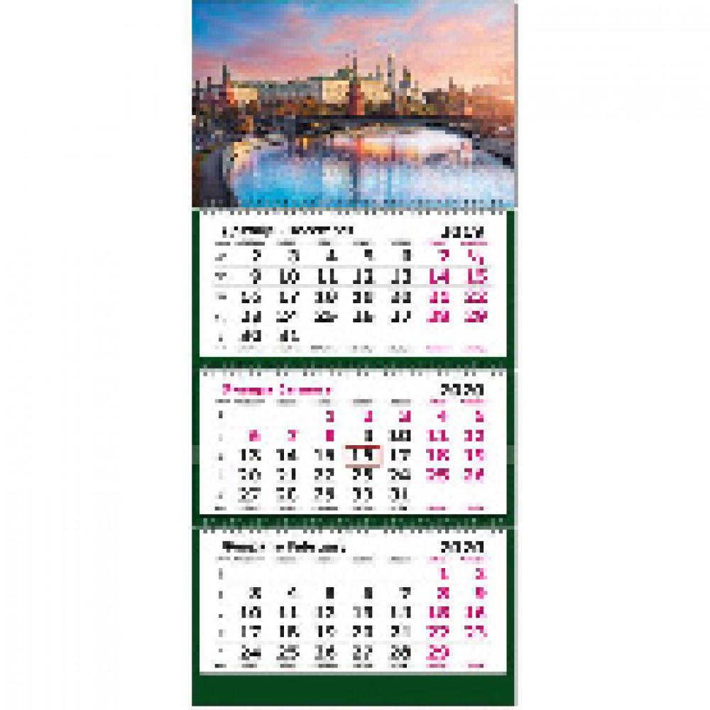 Календарь настен, 2020, 305х675, Москва, 3 спир,80г/м2, KB