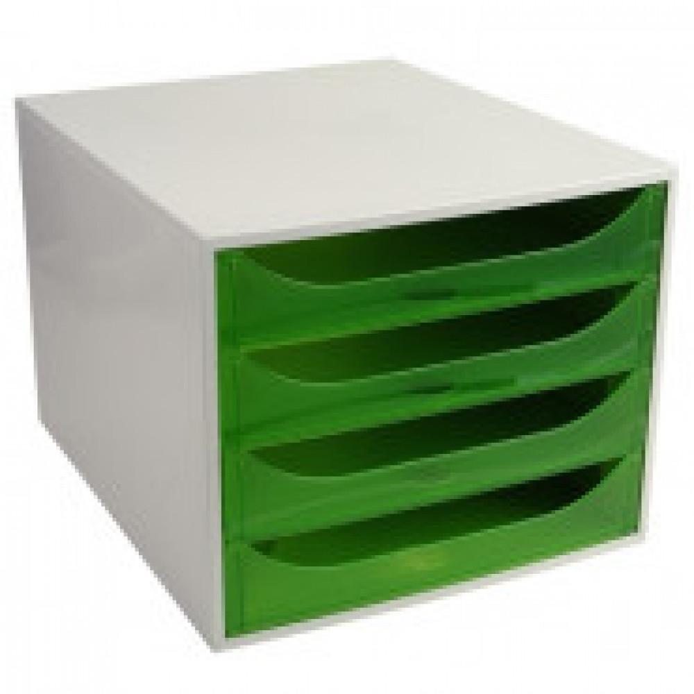 Бокс с выдвижными лотками Attache Selection, 4 отд, серый/зеленый 228697D