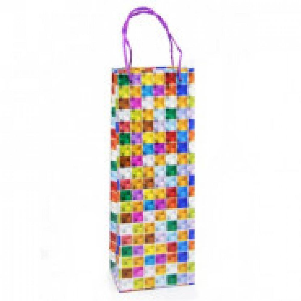 Пакет бумажный для бутылки 3D гол 13x36х8,5 см, 1 дизайн, 21877 в ассорт.