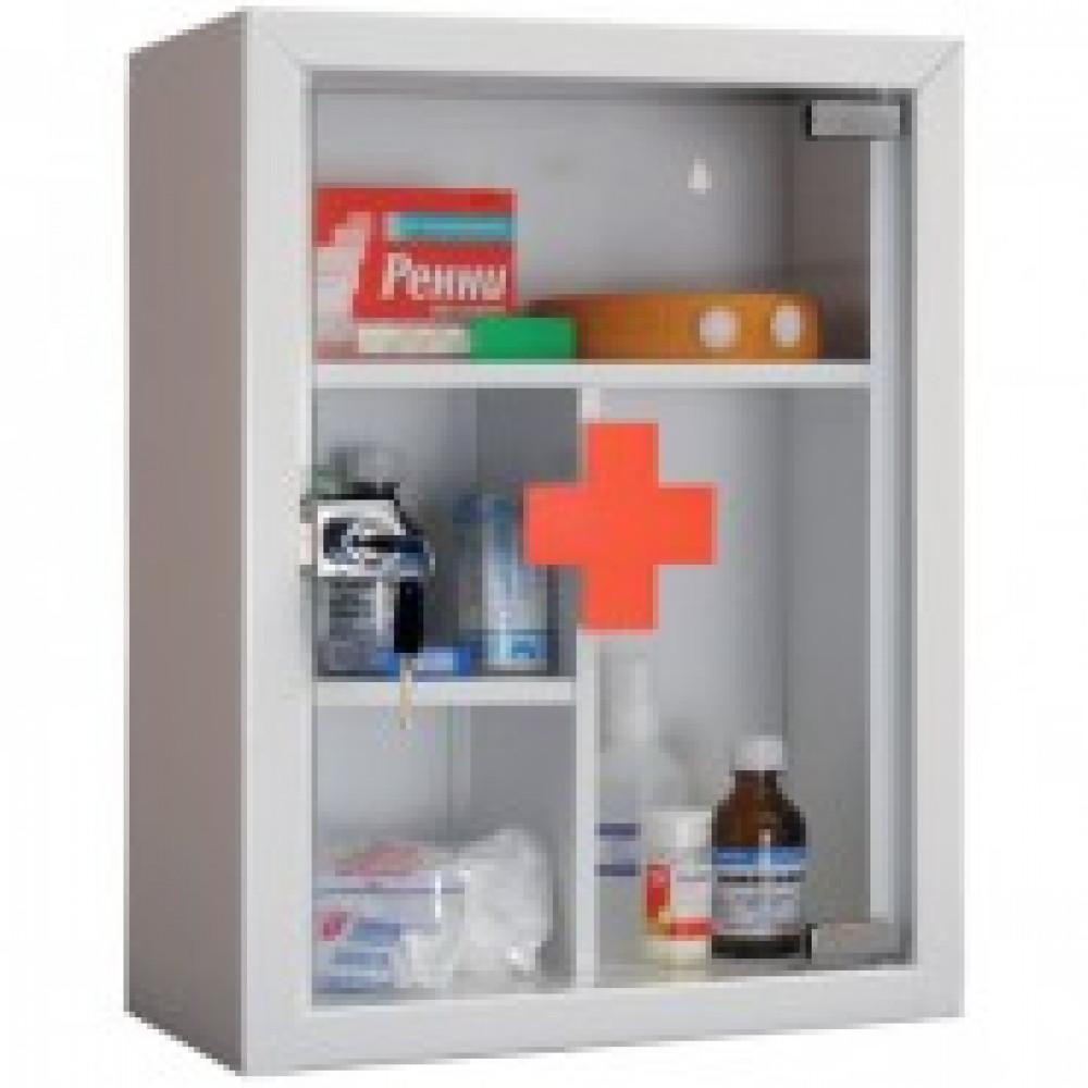 Аптечка металлическая ПРАКТИК AMD-39G  со стекл. двер., кл.зам,300х160х390
