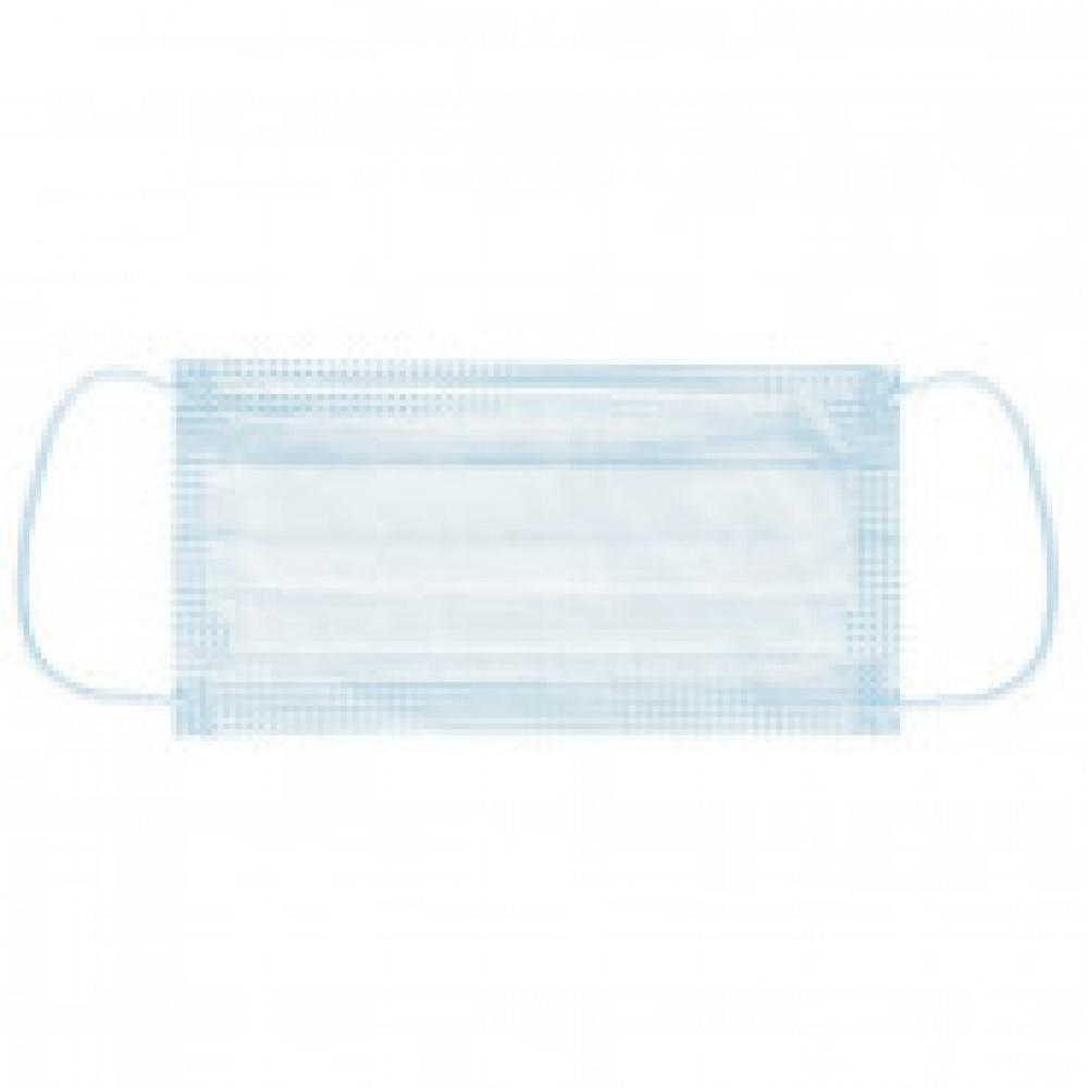 Маска медицинская одноразовая 3-слойная на резинке голубая 50шт/пакет