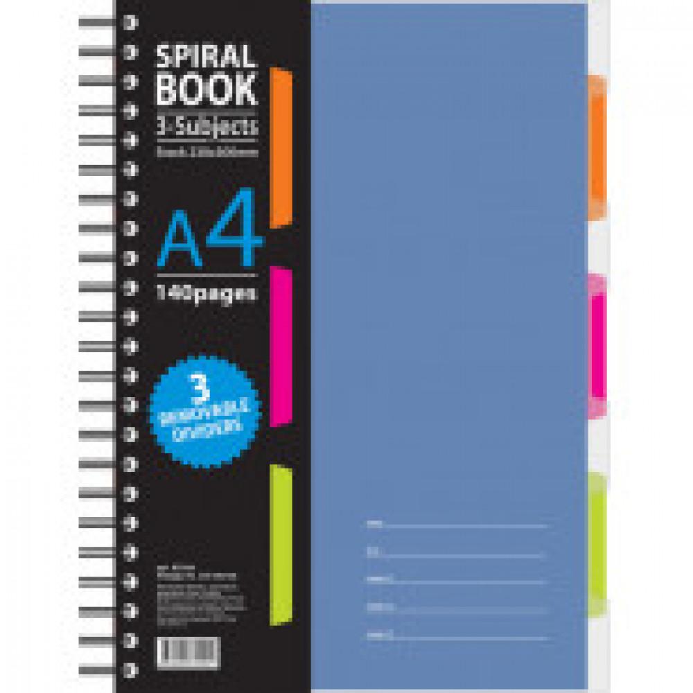 Бизнес-тетрадь 140л,кл,А4,SPIRAL BOOK Синий,евроспир,обл.пласт,раздел.84101