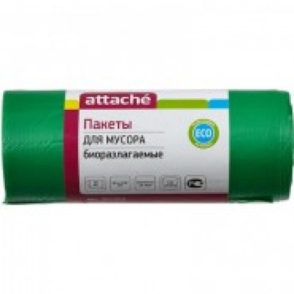 Мешки для мусора на 100 литров Attache зеленые (20 мкм, в рулоне 20 штук, 65x105 см)
