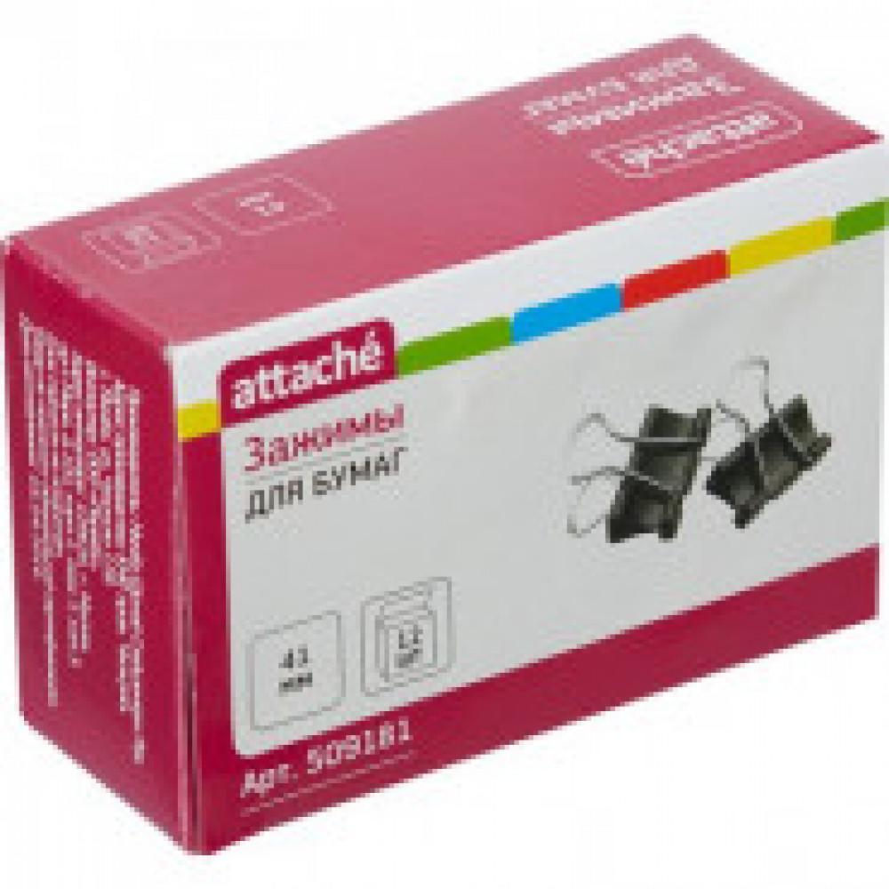 Зажимы для бумаг Attache 41 мм черные (12 штук в упаковке)