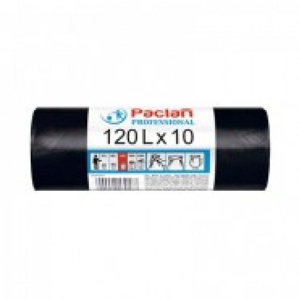 Мешки для мусора на 120 литров Paclan Professional черные (12.8 мкм, в  рулоне 10 штук, 70x105 см)