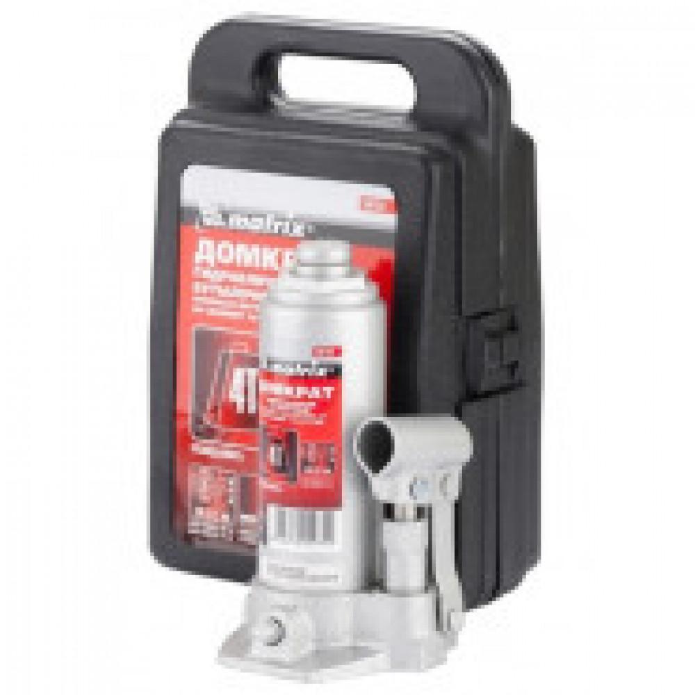 Домкрат гидравлический бутылочный 4т 194-372мм в пласт кейсе MATRIX (50754)