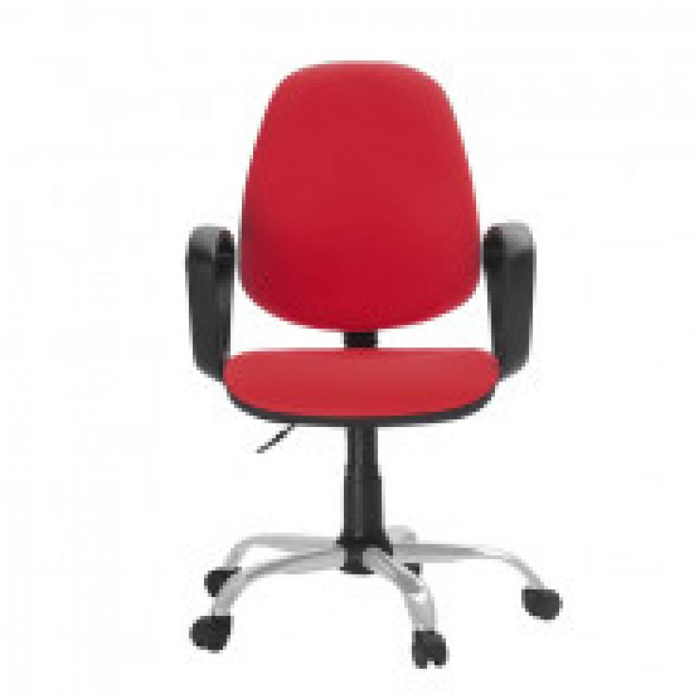 Кресло FA_EChair-222 PC ткань красная ТК12, Silver