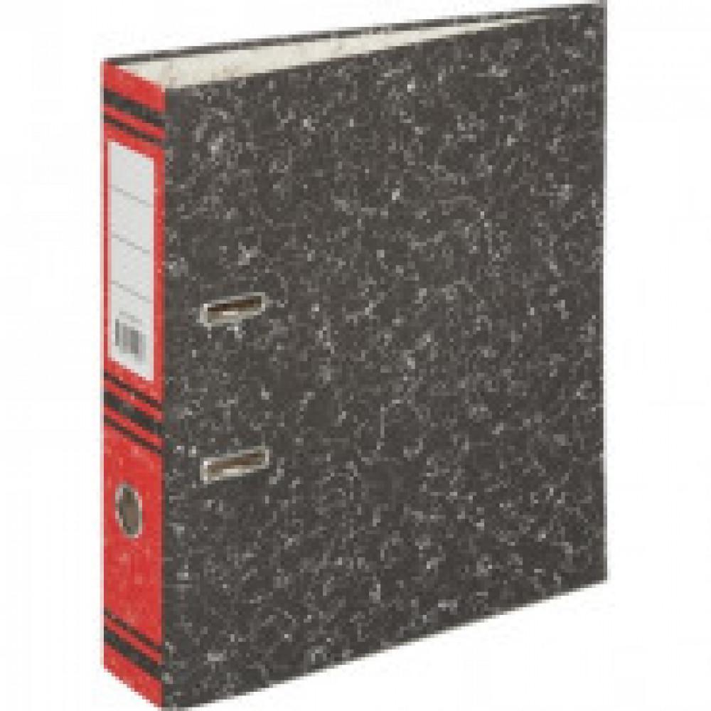 Папка-регистратор 75 мм (+/- 5 мм)мрамор,мет.уг.,красный корешок
