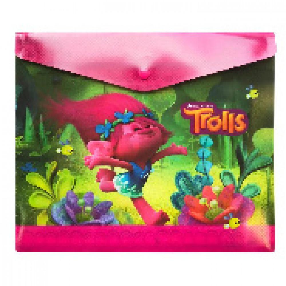 Папка -конверт на кнопке Trolls пластик А5 180 мк,4253399