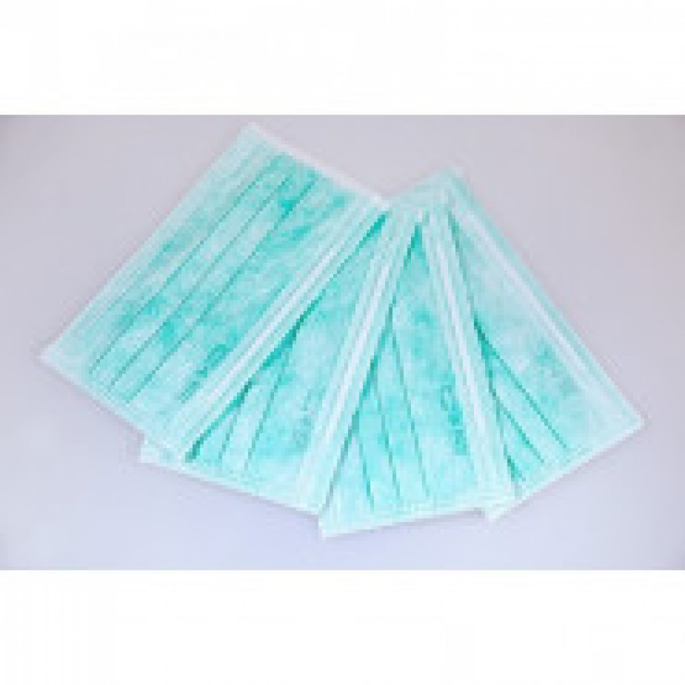 Маска медицинская 3-х сл. Clean+Safe голубая, картон, 50 штук в упак
