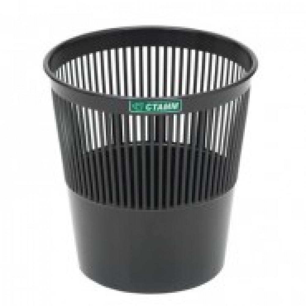 Корзина офисная 9л пластик, черная СТАММ