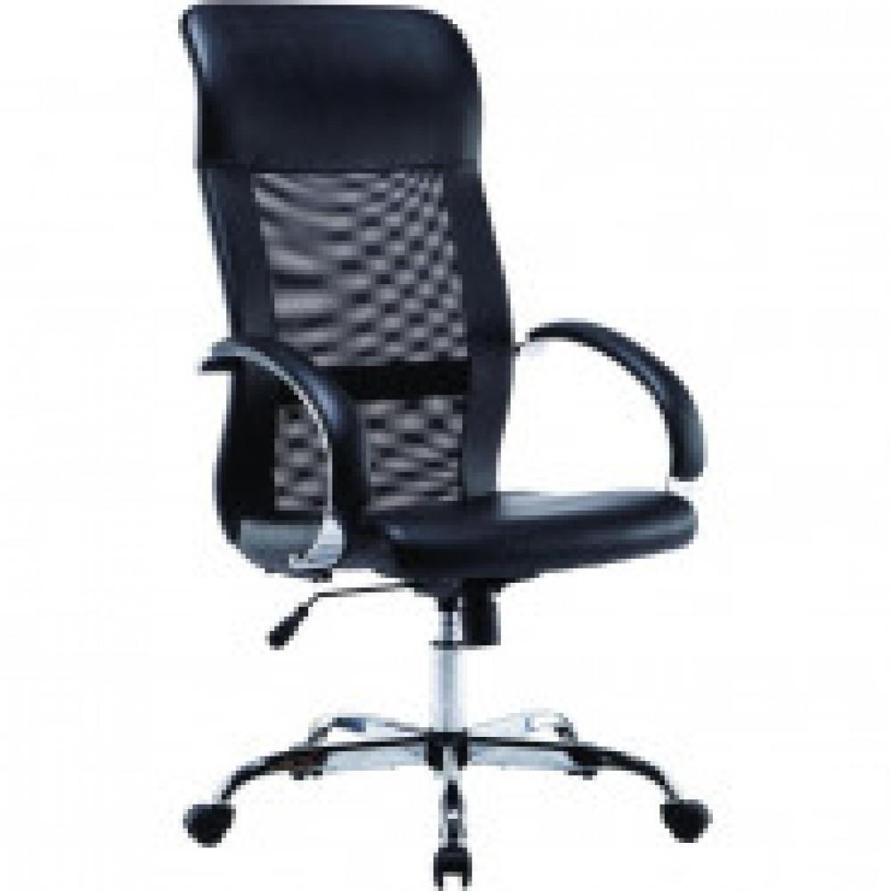 Кресло BN_Dt_EChair-575 TPU, кожзам черный, сетка черная