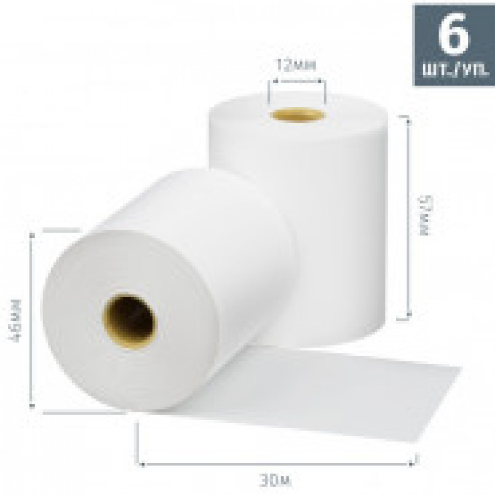 Ролики для касс  Promega  57мм (дл. 30м,вт.12,из т/б)6шт./уп.26уп/к