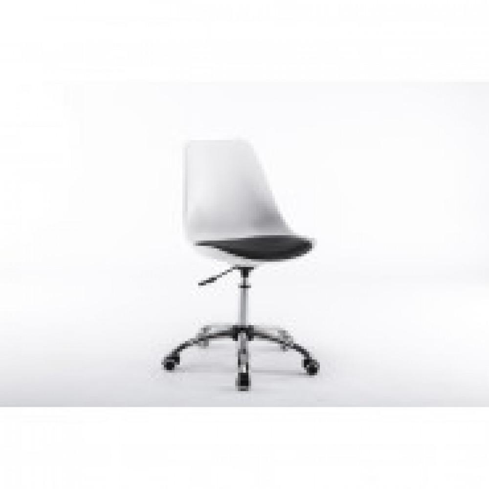 Кресло BN_Dt_Echair-212 PPU пласт.бел, кожзам черный