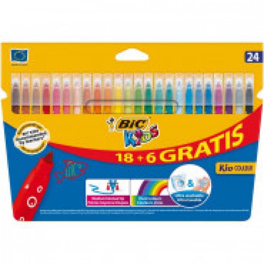 Фломастеры BIC KID COULEUR,18+6 цв, картонная упаковка, 841803