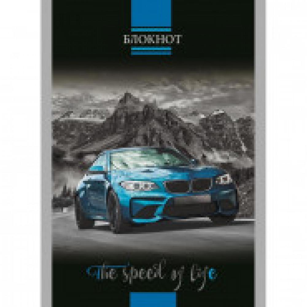 Блокнот А6,32л,клетка,скрепка,обл.мелов.карт. Синий спорткар С0100-259