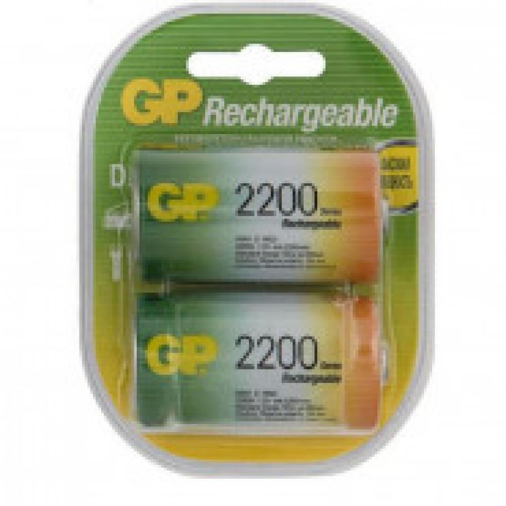 Аккумулятор GP 220DHC типоразмера D, емкость 2200 мАч - 2 шт/бл