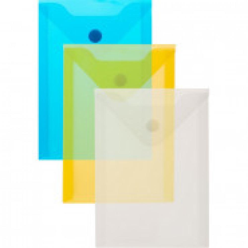 Папка-конверт на кнопке A6 ассорти 0.18 мм вертикальное размещение  (10 штук в упаковке)