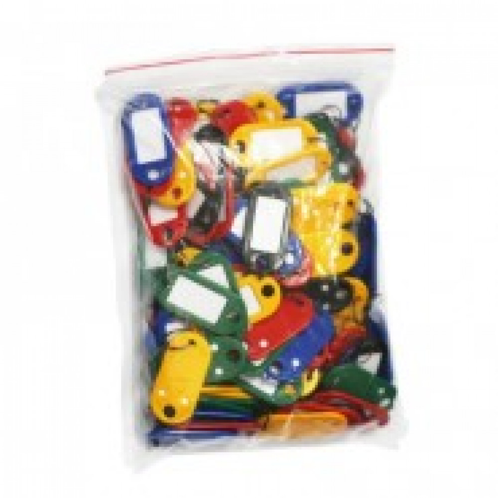 Бирки для ключей пластиковая, ассорти, 100шт./уп.