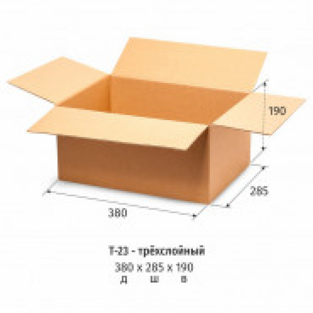 Гофрокороб 380х285х190 мм Т-23 бурый (10 штук в упаковке)