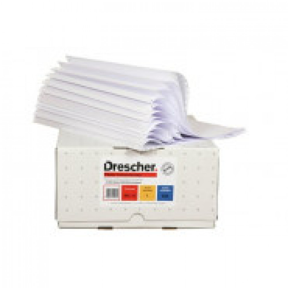 Самокоп.непрер.компьютерная бумага 210х12, 2-сл.Drescher,белая,900экз/уп