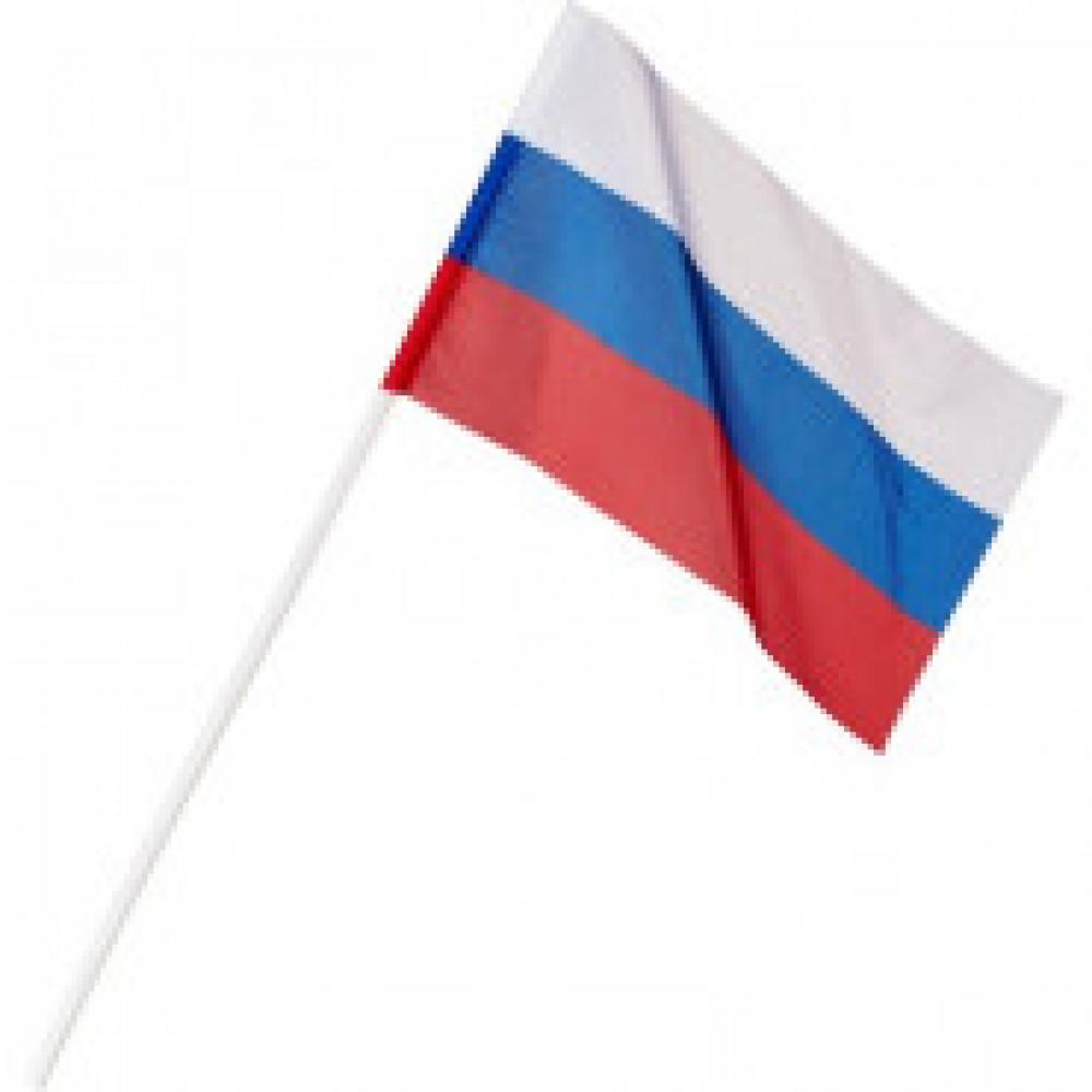 Флаг РФ 12*18см, с флагштоком 40см