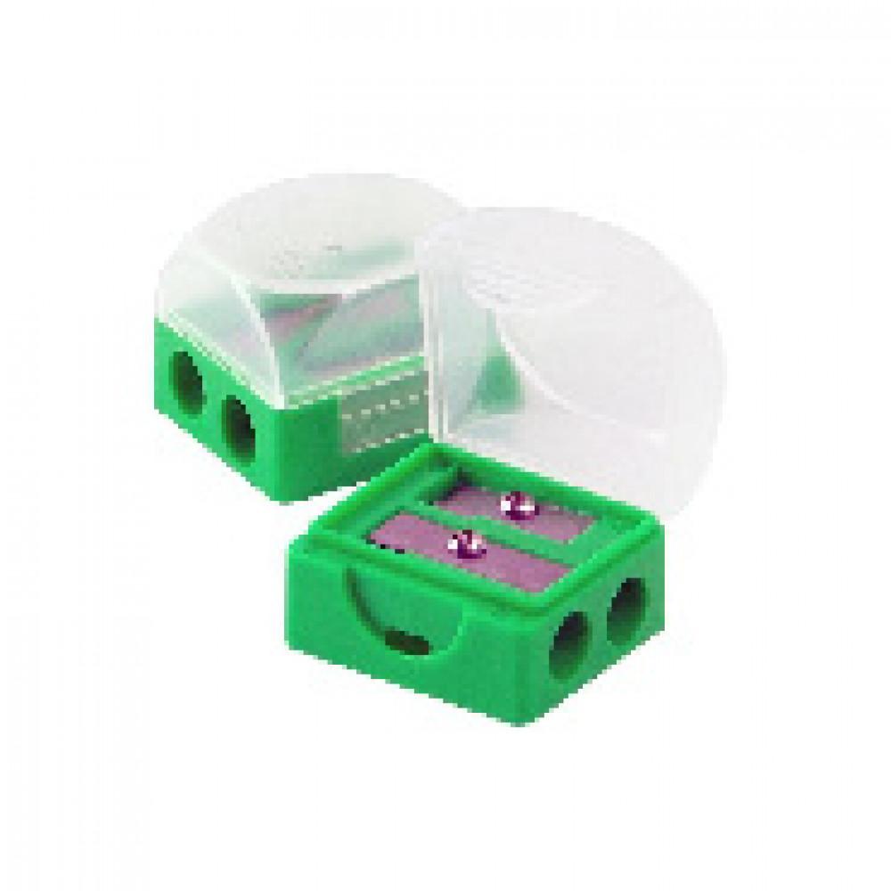 Точилка Attache на 2 отв. с контейнером, цв.зеленый, (138709) 2 шт.