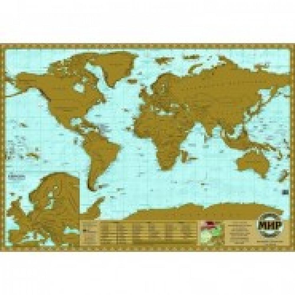 Настенная карта Мир скретч 1:60млн., 0,7х0,49м.