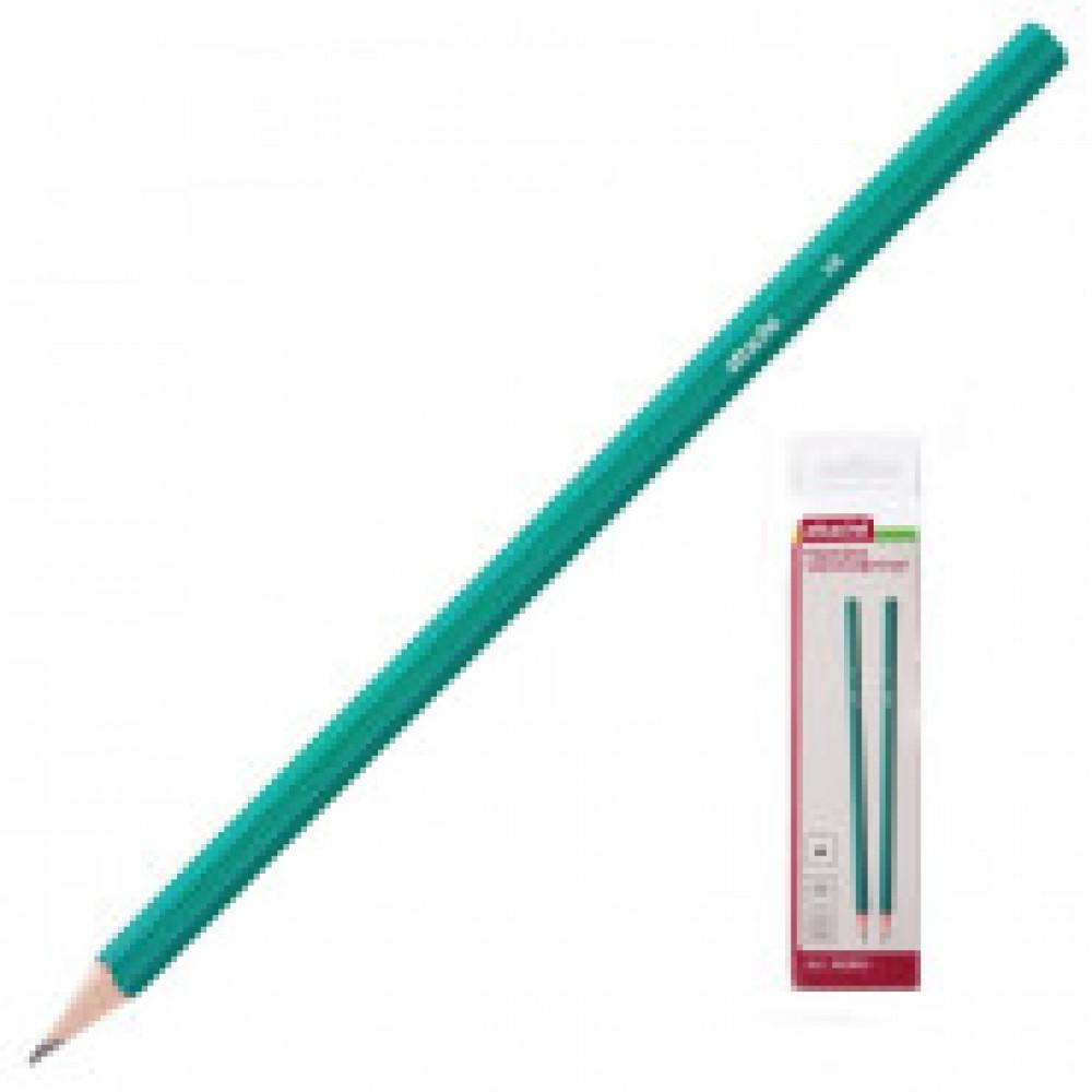 Карандаш чернографитный Attache плаcтик, без ластика, HB, зеленый корпус