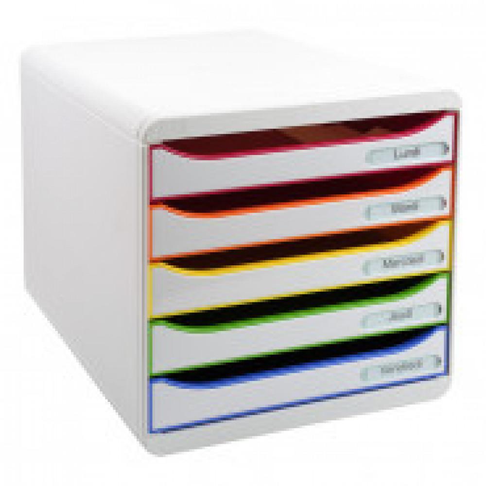 Бокс с выдв.лот. Exacompta Big Box Plus А4+ 5отд бел, отд-радуга 309913D
