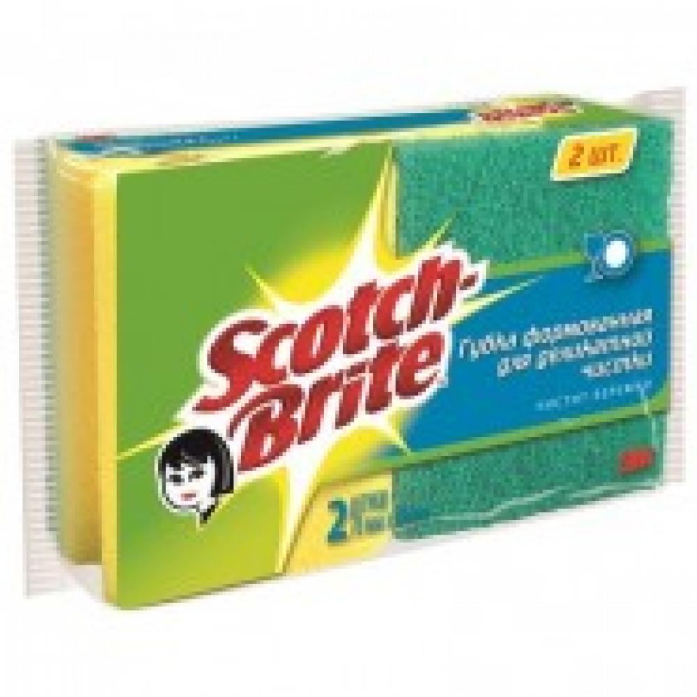 Губка абразивная 3М Scotch-Brite д/деликат. чистки с выемкой 2шт.