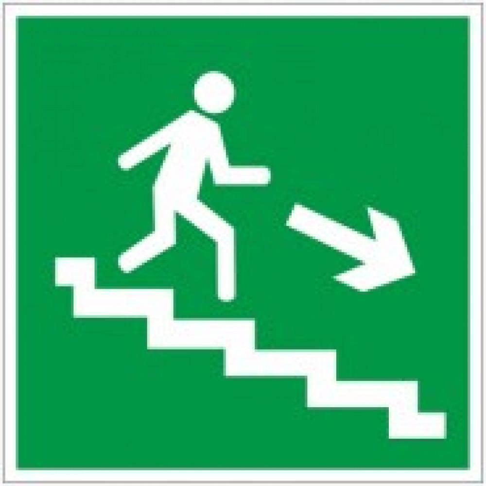 E13 Направление к эвакуационному выходу по лестнице вниз, правосторонний (пленка ПВХ, ф/л, 200х200)