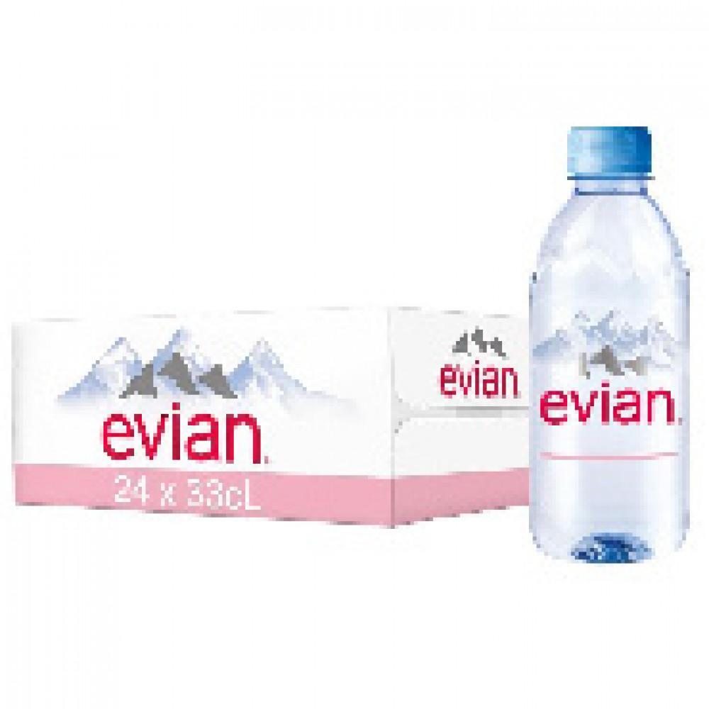 Вода минеральная Evian ПЭТ 0,33л негаз. 24шт/уп,133576