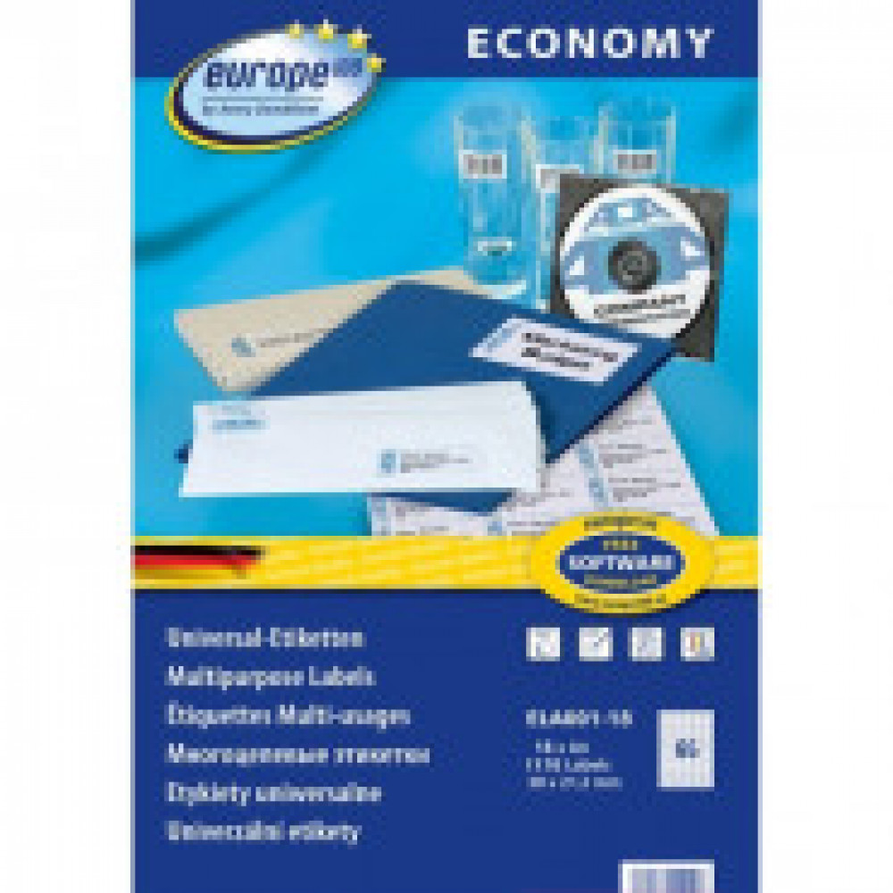 Этикетки самоклеящиеся Europe ELA001-18, 38x21,2мм,65шт на листе А4 18л/уп.
