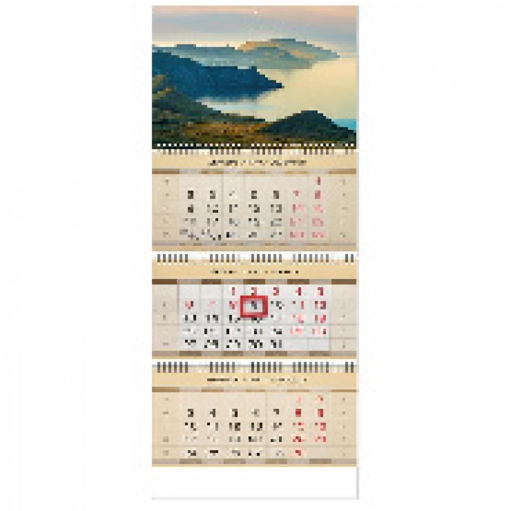 Календарь настен, 2020, 297х840, Восход, 3 спир,90г/м2,KB