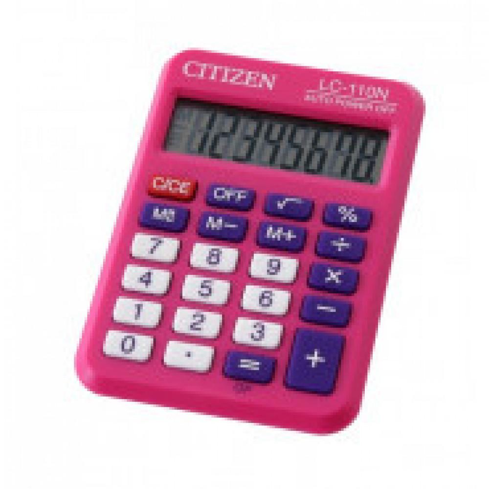 Калькулятор CITIZEN карман. LC110NRPK 8 разряд, цв.розовый